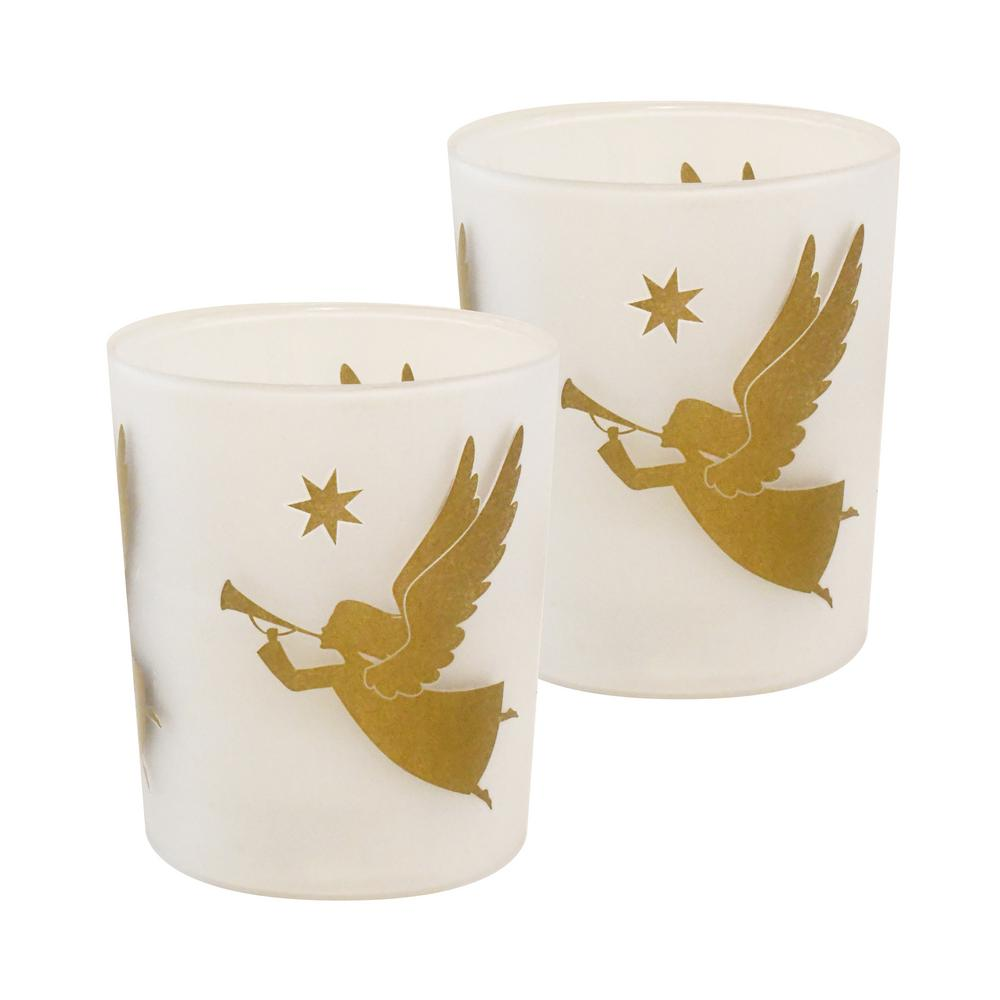 LUMABASE Gold Angels Battery Operated LED Candles (2-Count)