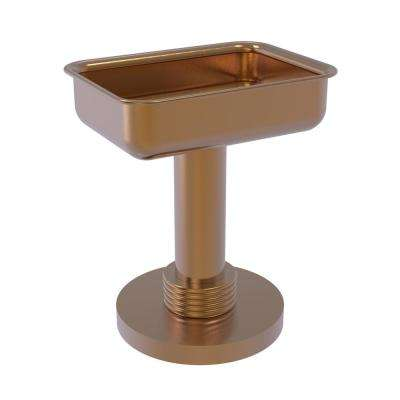 Vanity Top Soap Dish with Groovy Accents in Brushed Bronze