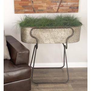 Litton Lane 38 In Rustic Galvanized Iron Planter With Stand 70557