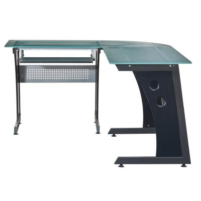 Graphite Deluxe L-Shaped Tempered Frosted Glass Top Computer Desk with Pull Out Keyboard Panel