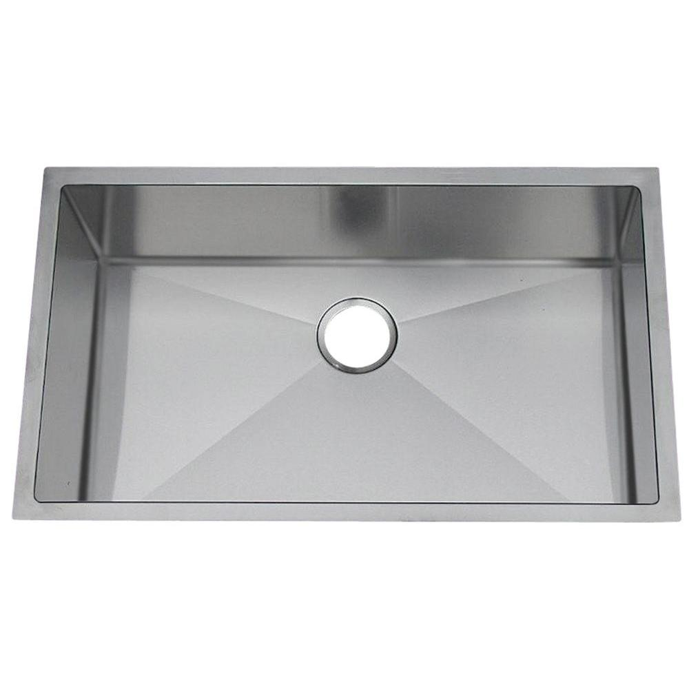 Professional Undermount Stainless Steel 31-1/2x18-1/2x10 in. 0-Hole Single Bowl