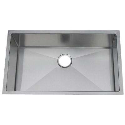 Professional Undermount Stainless Steel 31-1/2x18-1/2x10 in. 0-Hole Single Bowl Kitchen Sink
