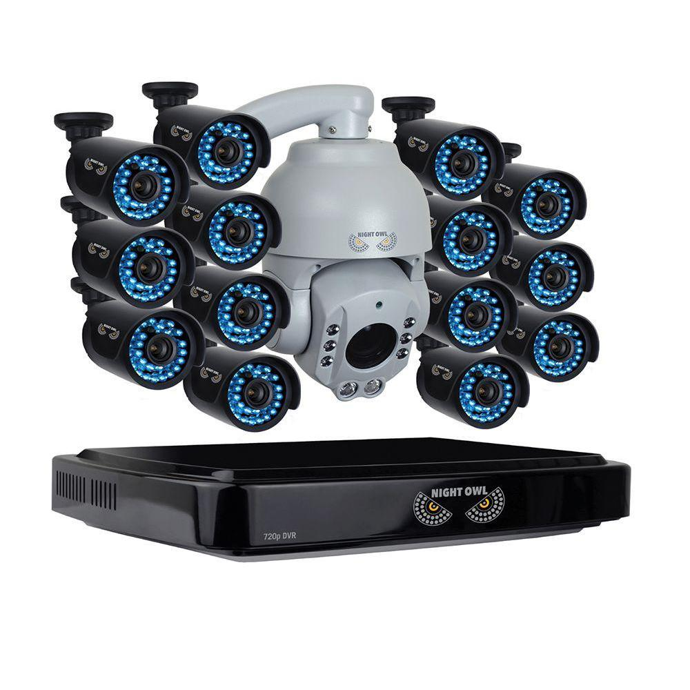 Night Owl 16Channel HD (AHD) 720p System with 2TB HDD Surveillance DVR 14 x 720p HD Bullet Cams and 1x 720p AHD Outdoor PTZ Camera