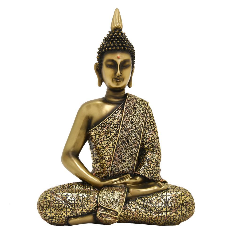 14.75 in. Gold Buddha Figurine