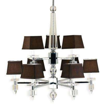 6760 9-Light Chrome Chandelier with Chocolate Shades