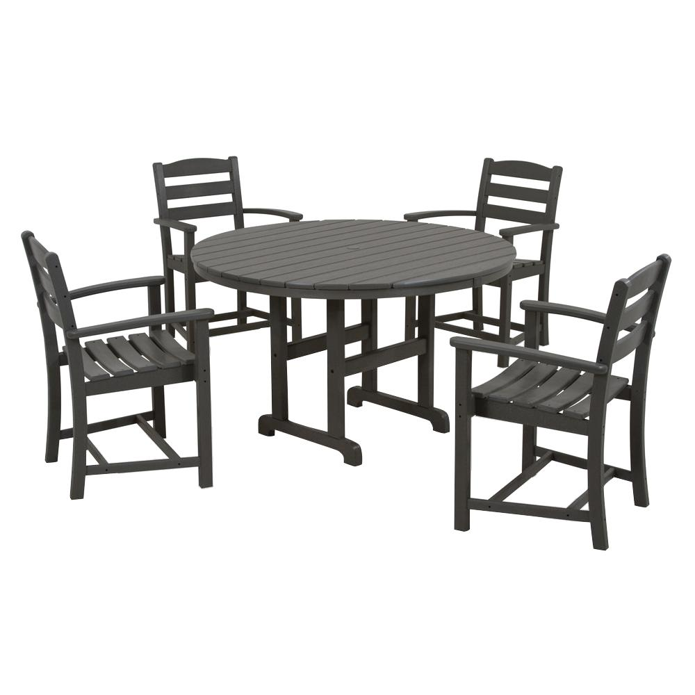 Polywood La Casa Cafe 5 Piece Slate Grey Plastic Outdoor