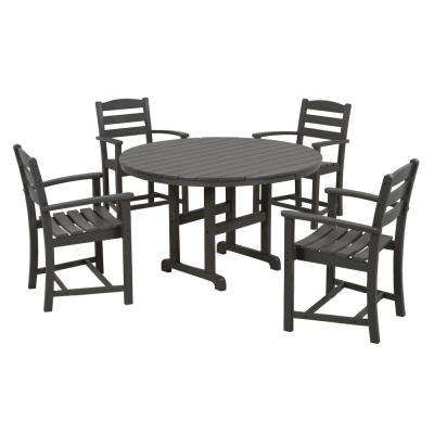 La Casa Cafe 5 Piece Slate Grey Plastic Outdoor Patio Dining Set