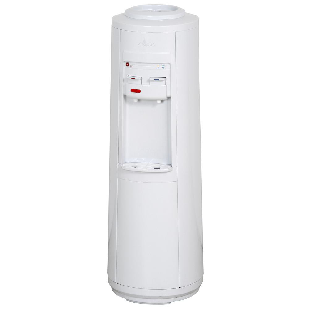 Vitapur Vitapur 3-5 Gal. ENERGY STAR Hot/Room/Cold Temperature Top Load Floor Standing Water Cooler Dispenser with Kettle Feature, Whites