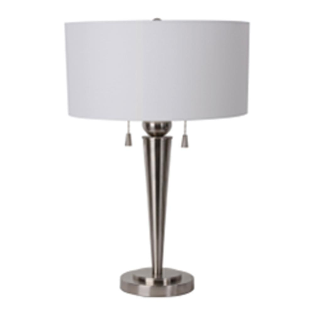 DSI 25.25 In Brushed Steel Table Lamp With White Nylon Shade 17674   The Home  Depot
