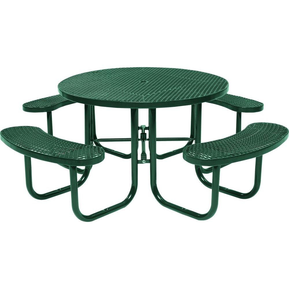 Tradewinds Green Commercial Round Picnic Table