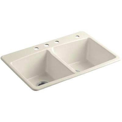 Brookfield Drop-In Cast Iron 33 in. 4-Hole Double Bowl Kitchen Sink in Almond
