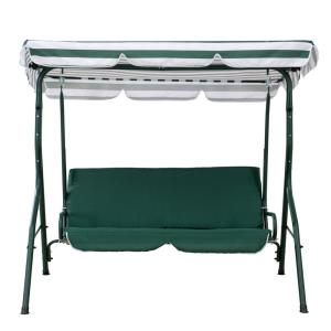 Flanigan 2-Person Green and White Striped Steel Patio Swing with Tilt Canopy