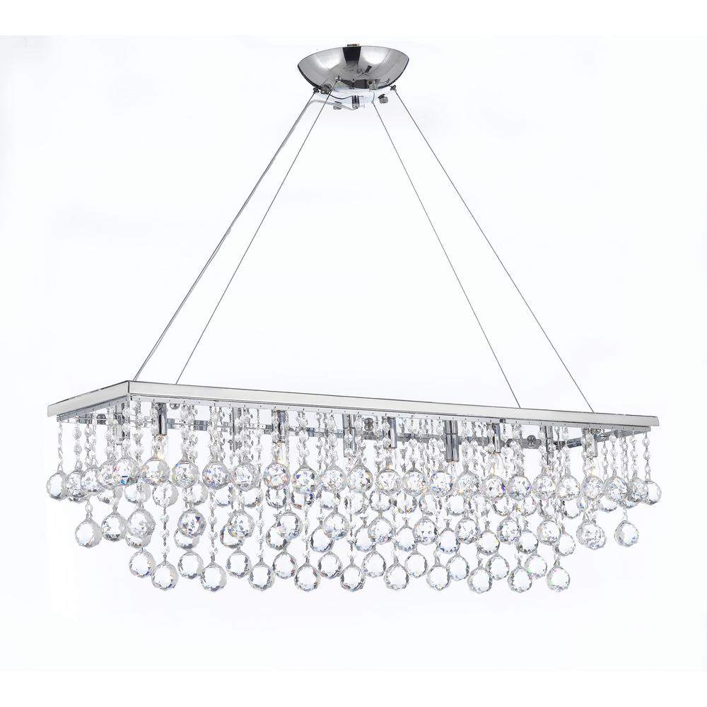 Harrison Lane Modern 10 Light Chrome And Crystal Chandelier Pendant With 40 Mm