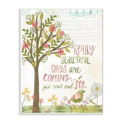 """10 in. x 15 in. """"Pink and Green Really Beautiful Days Spring Trees and Bird"""" by Katie Doucette Wood Wall Art"""