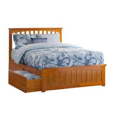 Mission Caramel Full Platform Bed with Matching Foot Board with 2-Urban Bed Drawers