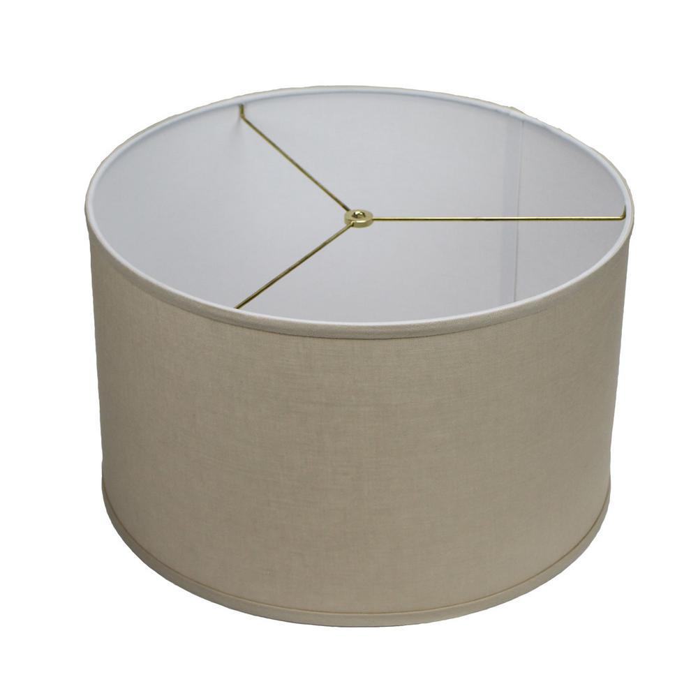 18 in. Top Diameter x 18 in. Bottom Diameter x 11 in. H Designer Linen Natural Drum Lamp Shade