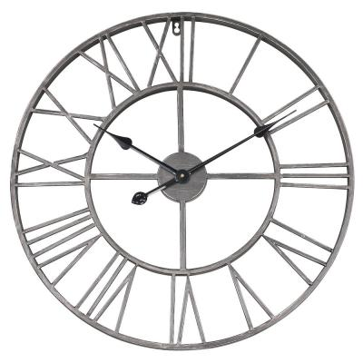 24 in. Dia Gray Roman Round Wall Clock