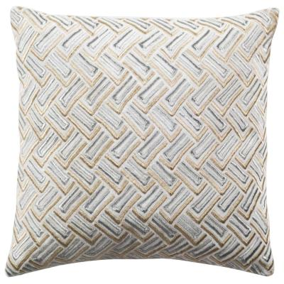 Grey and Gold Geometric Down Alternative 20 in. x 20 in. Throw Pillow