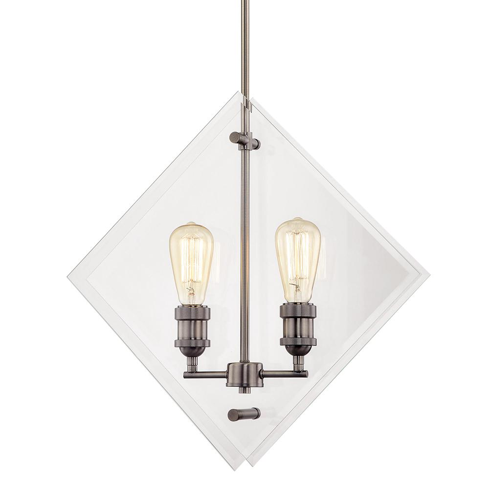 Home Decorators Collection 20 in. 2-Light Historic Nickel Pendant with Beveled Glass Panels Vintage Bulbs Included