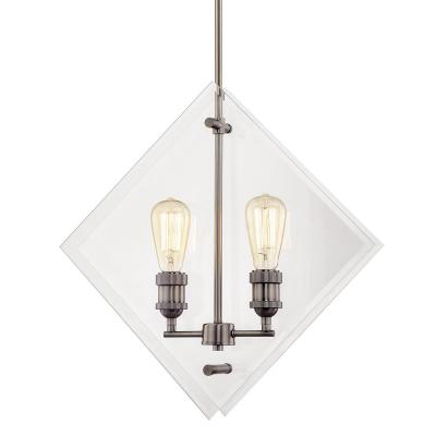 20 in. 2-Light Historic Nickel Pendant with Beveled Glass Panels Vintage Bulbs Included