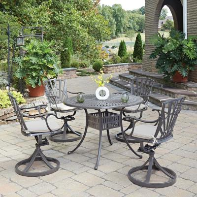 Grenada Taupe Tan 42 in. 5-Piece Cast Aluminum Round Outdoor Dining Set with Natural Tan Cushions