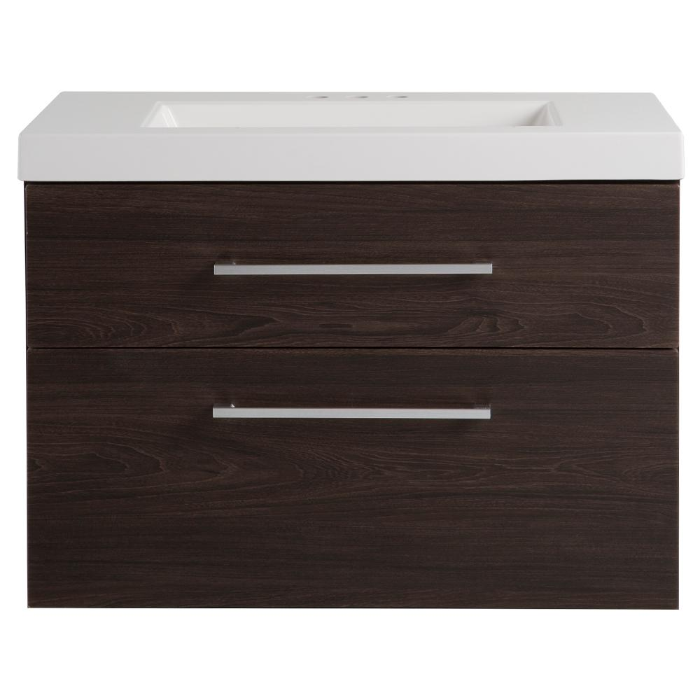 Domani Larissa 31 in. W x 19 in. D Bathroom Vanity in Elm Ember with Cultured Marble Vanity Top in White with White Sink