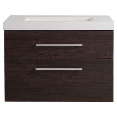 Larissa in 30.50 in. W x 18.75 in. D Wall Hung Vanity in Elm Ember with Cultured Marble Vanity Top in White with Basin
