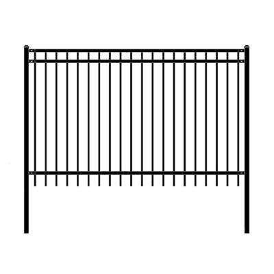 Nice Style 5 ft. x 8 ft. Black Unassembled Steel Fence Panel