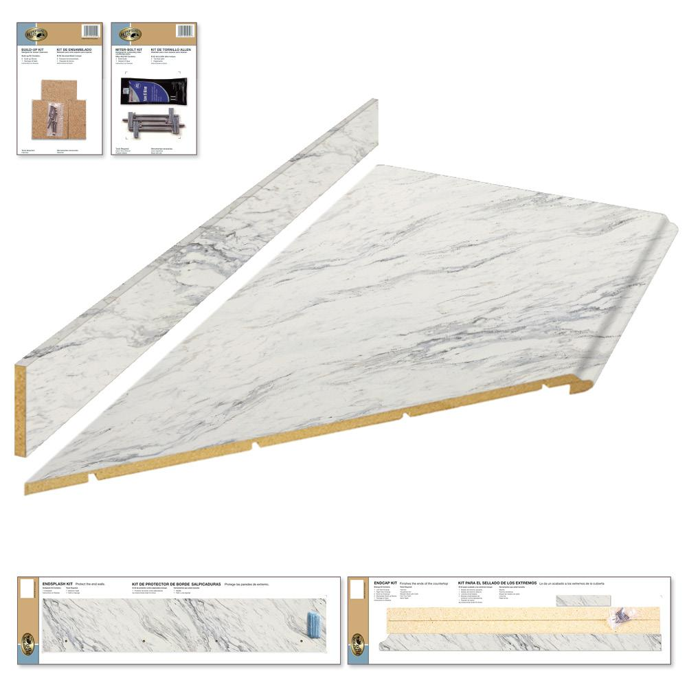Laminate Countertop Kit With Left Miter In Calcutta Marble With Premium