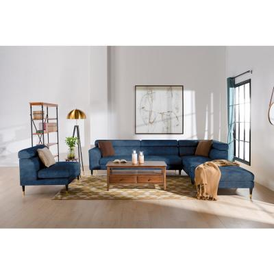 Bartelt 4-Piece Imperial Blue Velvet U-Shaped Right-Facing Modular Sectional Sofa with Ottoman