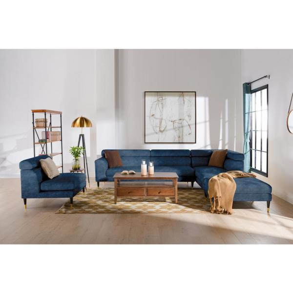 Bartelt Imperial Blue Performance Velvet RAF Modular Modern Sectional Chaise Sofa