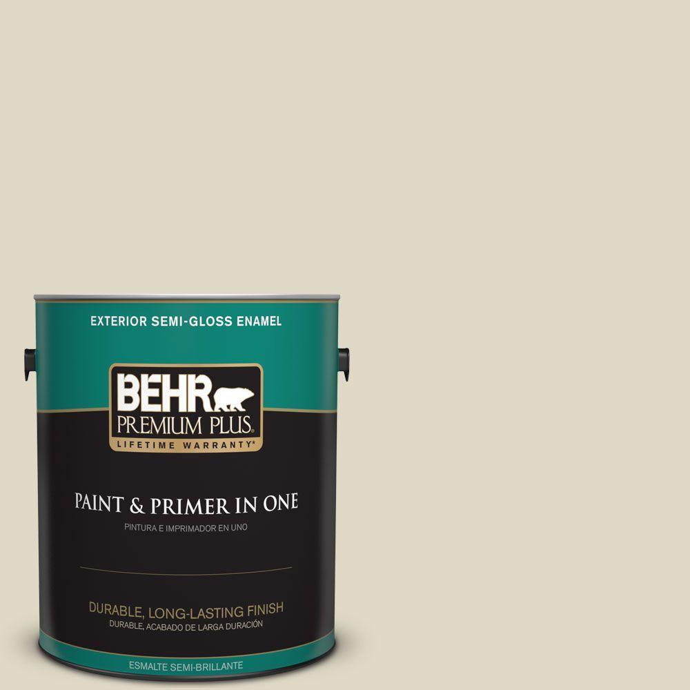 BEHR Premium Plus 1-gal. #YL-W13 Sentimental Beige Semi-Gloss Enamel Exterior Paint