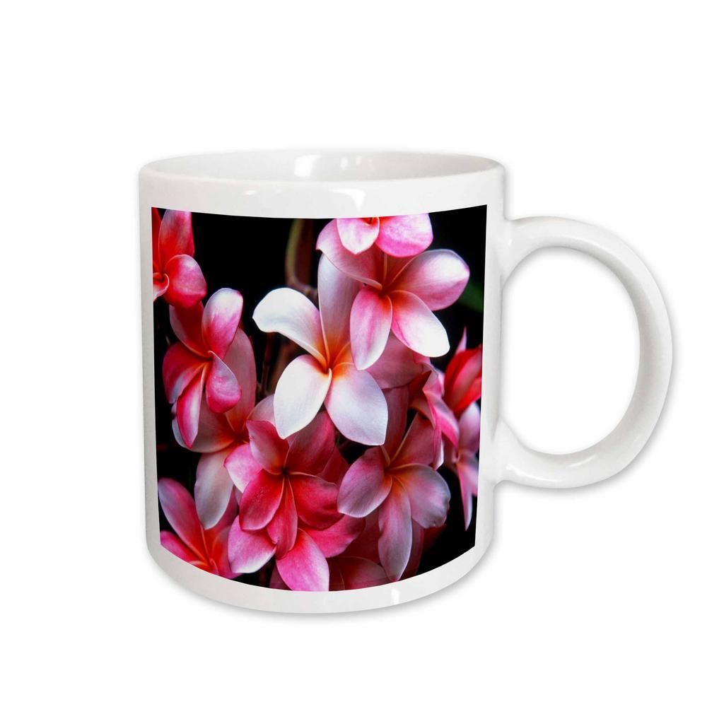 Florene Hawaii 11 oz. White Ceramic Coffee Mug, Hawaiian Fuchsia Colored Plumeria Flowers