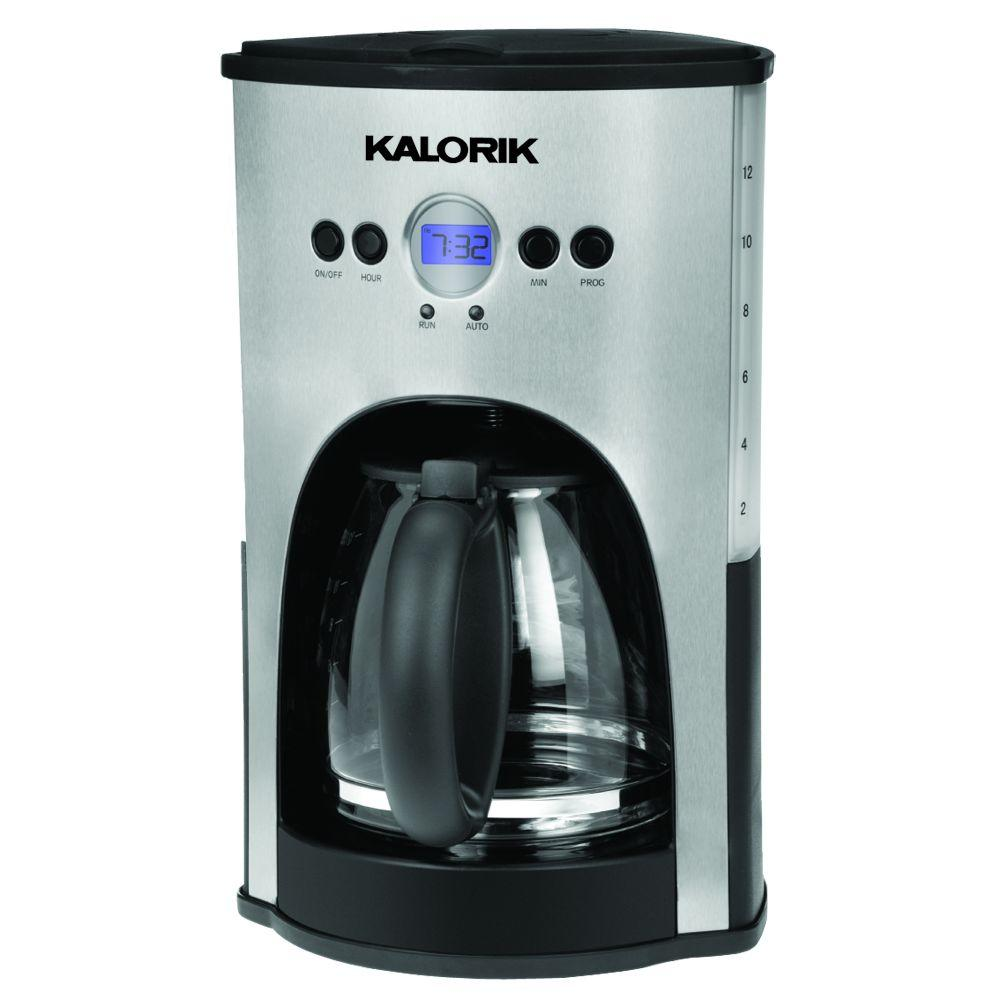 KALORIK 12-Cup Programmable Coffee Maker in Stainless Steel/Black