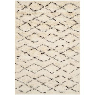 Safavieh Casablanca Shag White/Brown 4 ft. x 6 ft. Area Rug, Ivory/Brown