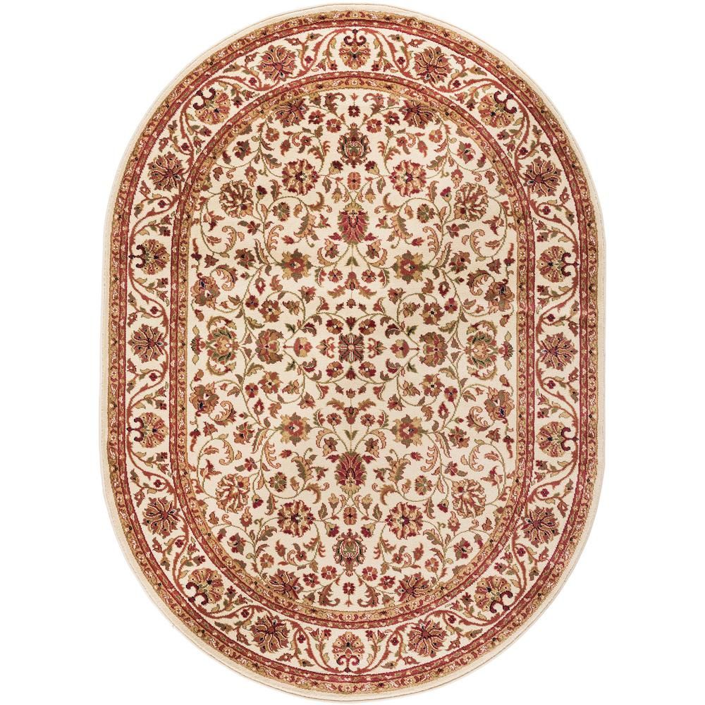 7x10 Rug: Tayse Rugs Sensation Ivory 6 Ft. 7 In. X 9 Ft. 6 In