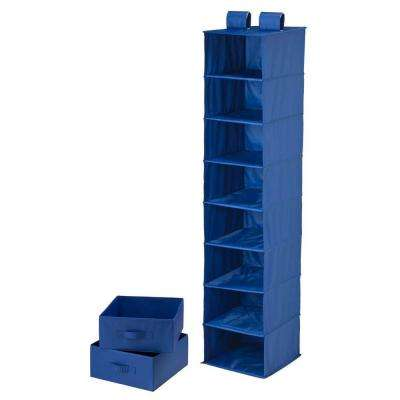 8-Shelf Blue Polyester Hanging Organizer with 2 Drawers