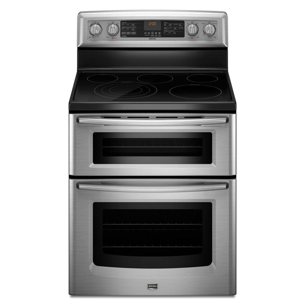 Maytag Gemini 6.7 cu. ft. Double Oven Electric Range with Self-Cleaning Convection Oven in Stainless Steel-DISCONTINUED
