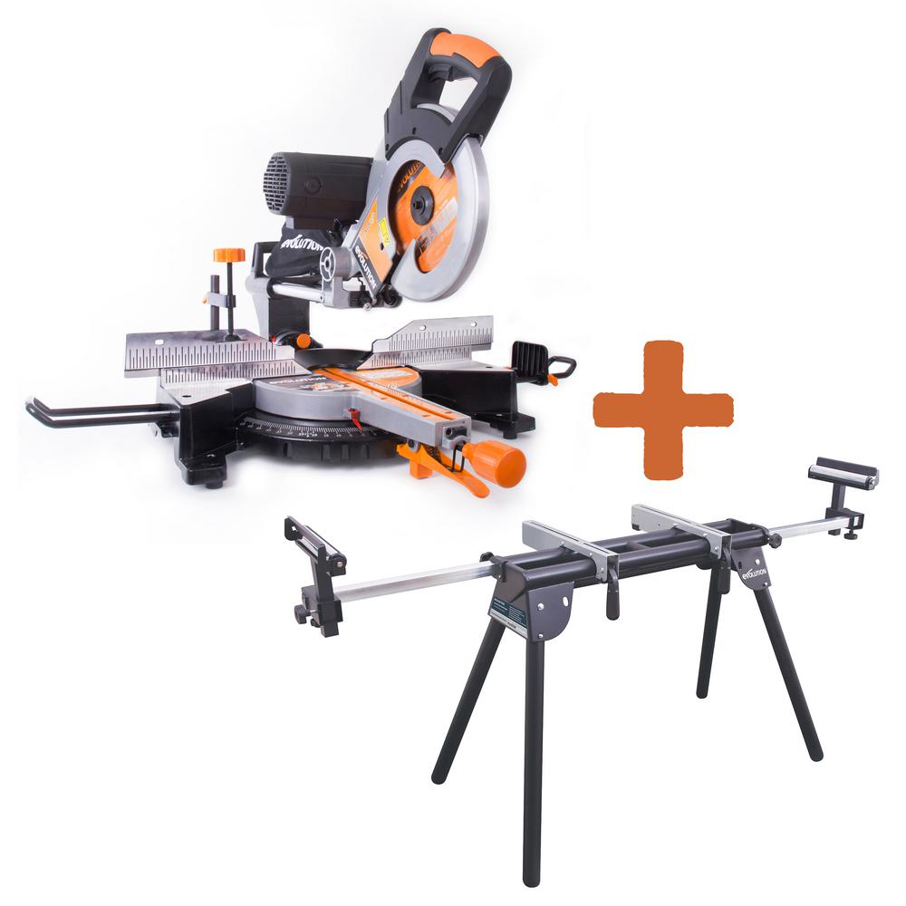 Evolution Power Tools 15 Amp 10 in. Multipurpose Double Bevel Sliding Miter Saw with Miter Stand