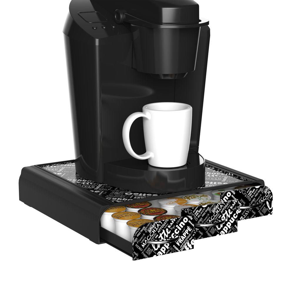 Mind Reader Anchor 36 Capacity Coffee Pod Triple Drawer In Black Print