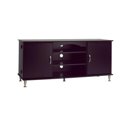 AV 58 in. Black Composite TV Stand Fits TVs Up to 58 in. with Storage Doors
