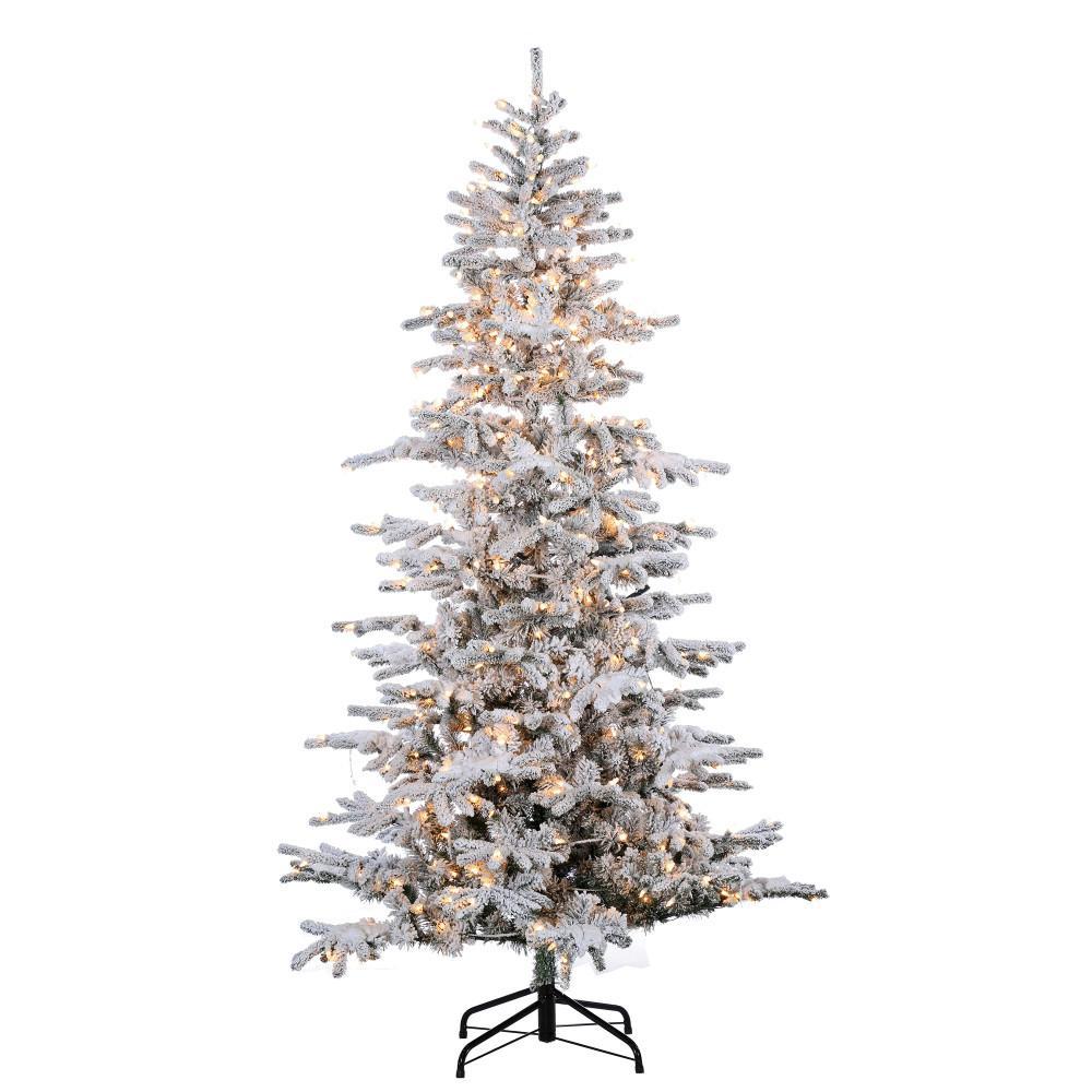 Home Depot Christmas Tree Lot Hours: Sterling 7.5 Ft. Pre-Lit Flocked Cambridge Fir Artificial