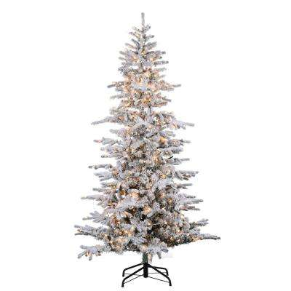 7.5 ft. Pre-Lit Flocked Cambridge Fir Artificial Christmas Tree