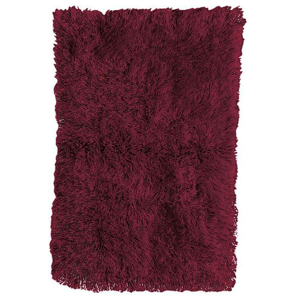 Home Decorators Collection Premium Flokati Burgundy 2 ft. x 5 ft. Area Rug