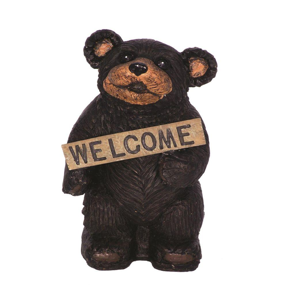 Standing Bear Holding Welcome Sign Home And Garden Statue