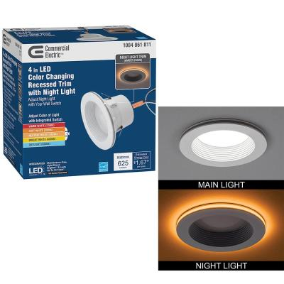 4 in. Color Selectable CCT Integrated LED Recessed Light Trim with Night Light Feature 625 Lumens 10.5-Watt Dimmable
