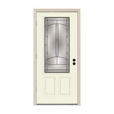 32 in. x 80 in. 3/4 Lite Idlewild Vanilla Painted Steel Prehung Right-Hand Outswing Front Door w/Brickmould