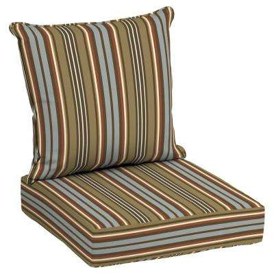 24 x 24 outdoor lounge chair cushion in olefin southwest toffee stripe - Hampton Bay Patio Cushions