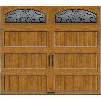 Gallery Collection 8 ft. x 7 ft. 6.5 R-Value Insulated Ultra-Grain Medium Garage Door with Wrought Iron Window