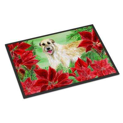 18 in. x 27 in. Indoor/Outdoor Irish Wolfhound Poinsettas Door Mat